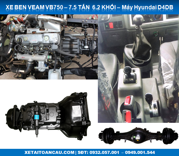 Hệ thống chassis Xe Ben Veam VB750 7.5 tấn 7T5